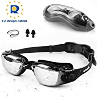 Zerhunt Swimming Goggles Adult Mens Children - Mirror Swim Goggles Anti Fog with UV Protection No Leaking with Nose Clip and Earplugs, Designed for Mens Womens Kids