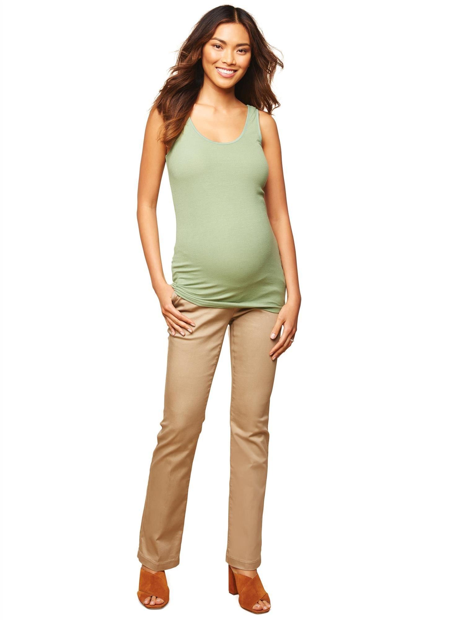 Motherhood Maternity Women's Maternity 5 Pocket Super Soft Secret Fit Belly Boot Cut Pant, Khaki, Medium