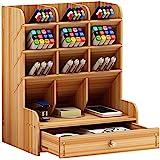 Organizador de mesa de madeira, caixa de armazenamento de porta-canetas multifuncional Organizador de armazenamento fixo de m