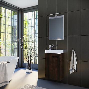 Planetmöbel Badmöbel Set Gäste WC Gäste Bad Waschtischunterschrank Spiegel  Mit LED Leuchte Waschbecken 40 Cm Braun