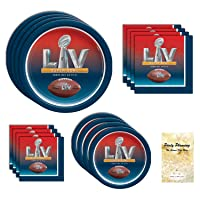 Super Bowl 55 LV Party Supply Pack, Disposable Paper Dinnerware, 16 Guests, 64 Pieces, Dinner Plates, Dessert Plates and Napkins