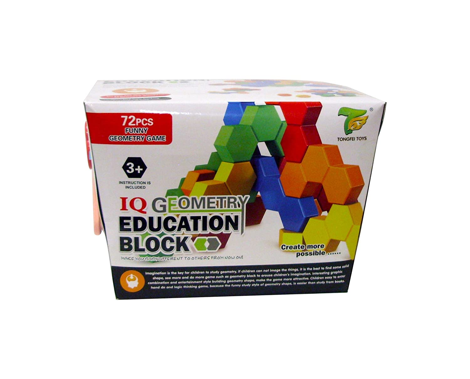 Kids Building Geometry Hexagonal Blocks in Adorable Blue Storage Container~Educational Toy Gift~72 pieces~5 Shapes~5 Colors Tongfei Toys