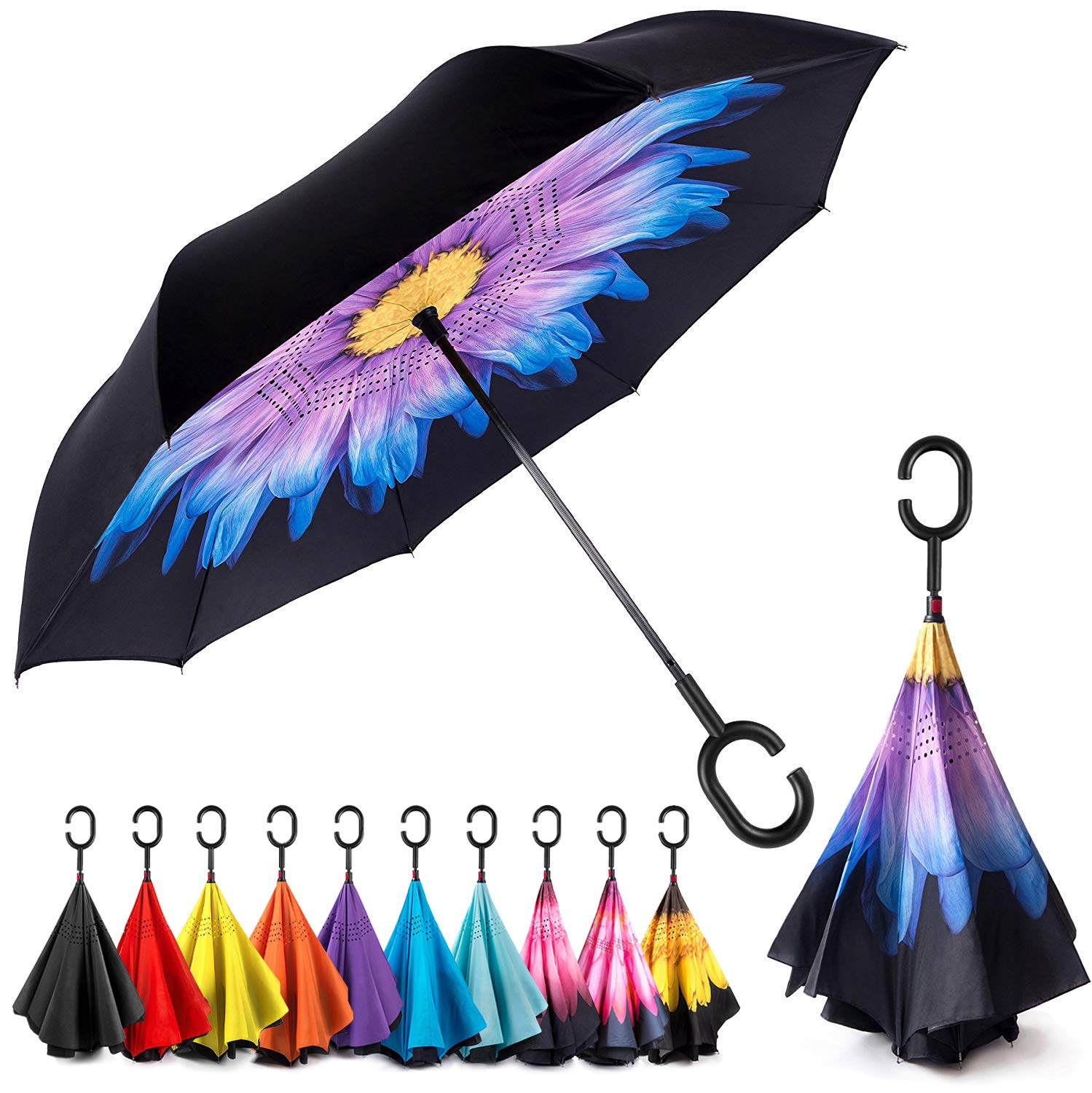 EEZ-Y Reverse Inverted Windproof Umbrella - Upside Down Umbrellas with C-Shaped Handle for Women and Men - Double Layer Inside Out Folding Umbrella by EEZ-Y