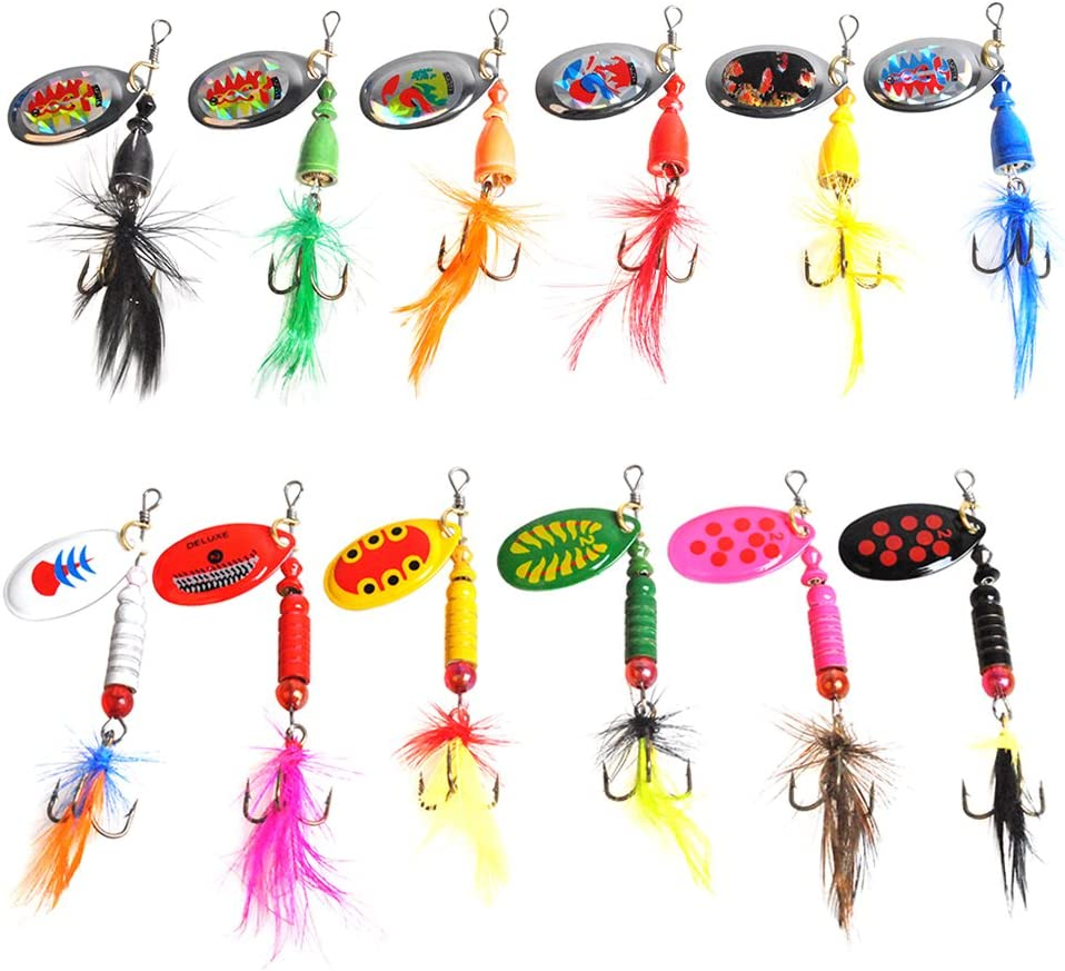Dr.Fish 12 Pack Fishing Spinners for Bass Trout Salmon Roostertail Lure Kit Saltwater Freshwater Ice Fishing Bait