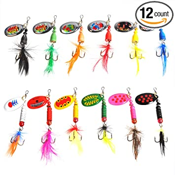 Dr Fish Fishing Lures Kit Spinner Lot for Bass Trout Salmon Freshwater  Saltwater Ice Fishing Bait Assortment