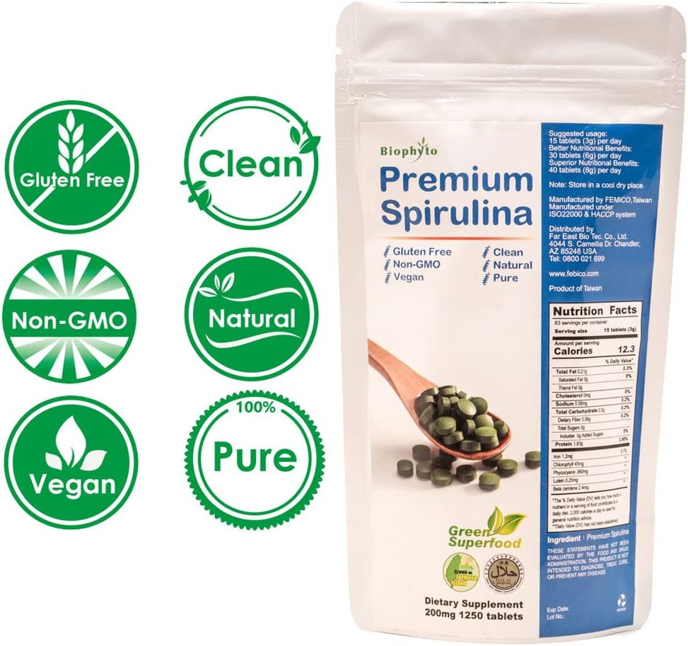 Biophyto Spirulina 200mg – 1250 Tablets -100 Pure-Vegan Green Superfoods, Natural Multivitamins Minerals- Rich in Protein-Antioxidants -Phycocyanin-Non GMO – Energy and Immunity Support