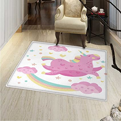 Amazon Com Girls Anti Skid Area Rug Chubby Legendary Smiley Unicorn