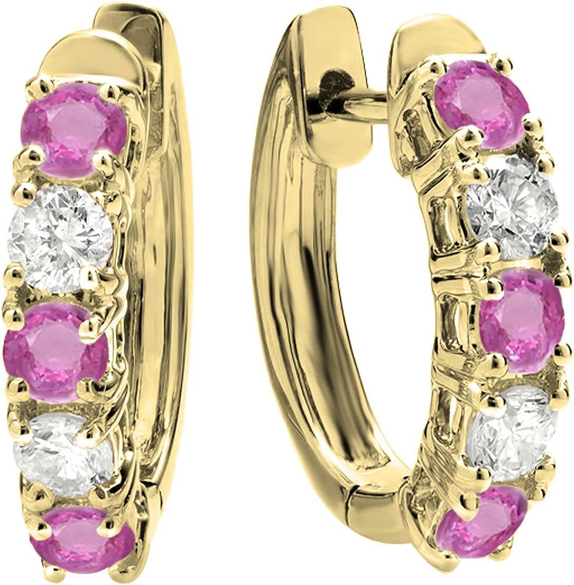 DazzlingRock Collection 18k oro amarillo ronda de zafiro rosa y diamantes mujer blancas pendientes de aro de huggies Zafiro Rosa Zafiro Rosa