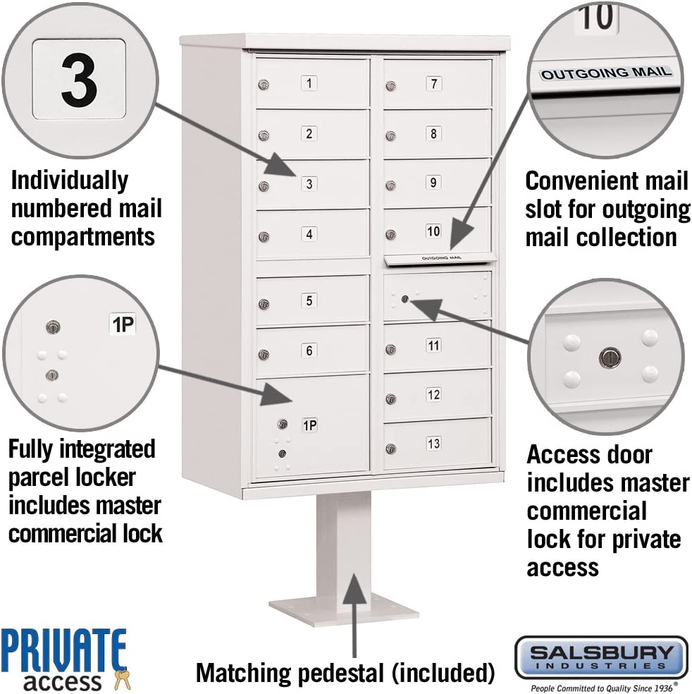 Type IV 13 B Size Doors Salsbury Industries 3313BLK-P Cluster Box Unit with Pedestal and Master Locks Black