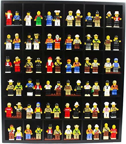 Wall Curio Display Case Cabinet Display Stand for Minifigures Dimensions Small Toy Blocks Figures- Black