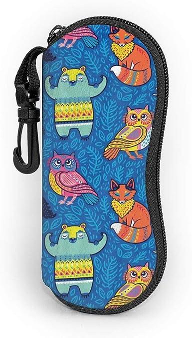 Gafas de sol Estuche blando Tribal Forest Animals en azul. Textura infantil creativa. Vector ilustración estuche para gafas con clip para cinturón: Amazon.es: Ropa y accesorios