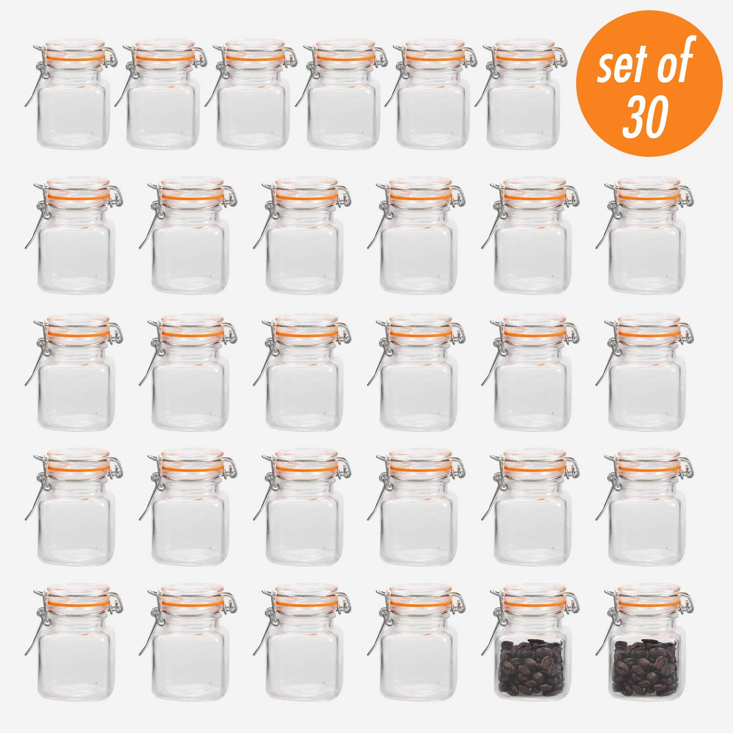 Encheng 4 oz Glass Jars With Airtight Lids And Leak Proof Rubber Gasket,Small Mason Jars With Hinged Lids For Kitchen, Mini Spice Jars 30 Pack