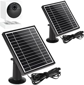 UYODM 2Pack Solar Panel for Wyze Cam Outdoor | Weather Resistant, 16.5Ft Outdoor Power Charging Cable, Adjustable Mount | Not for Wyze/Wyze v3 - Black