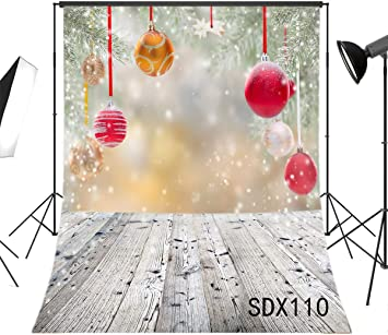 LB Christmas Balls Backdrops for Photography 5x7ft Poly Fabric Rustic Wood Floor Background Snowflake Photo Backdrops Customized Photo Background Studio Props