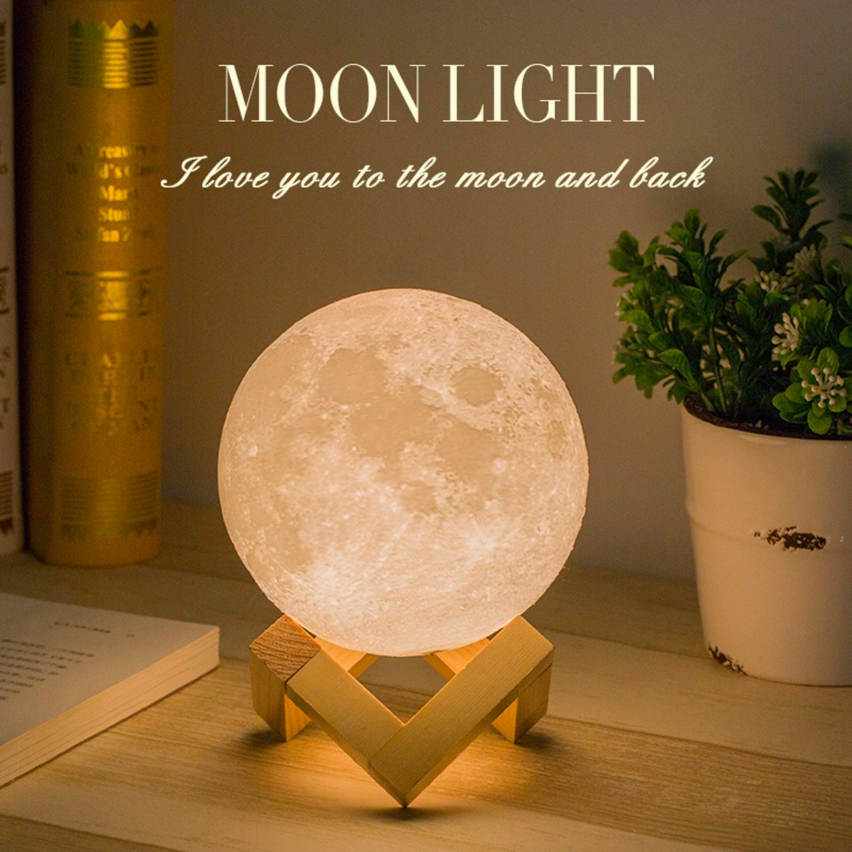 Mydethun Moon Lamp Moon Light Night Light for Kids Gift for Women USB Charging and Touch Control Brightness 3D Printed Warm and Cool White Lunar Lamp (7.1IN with Moon Light with Wood Base) mydethun.Co ML-035