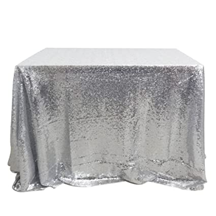 225 & San Tungus Silver Sparkly Table Cloth 50\