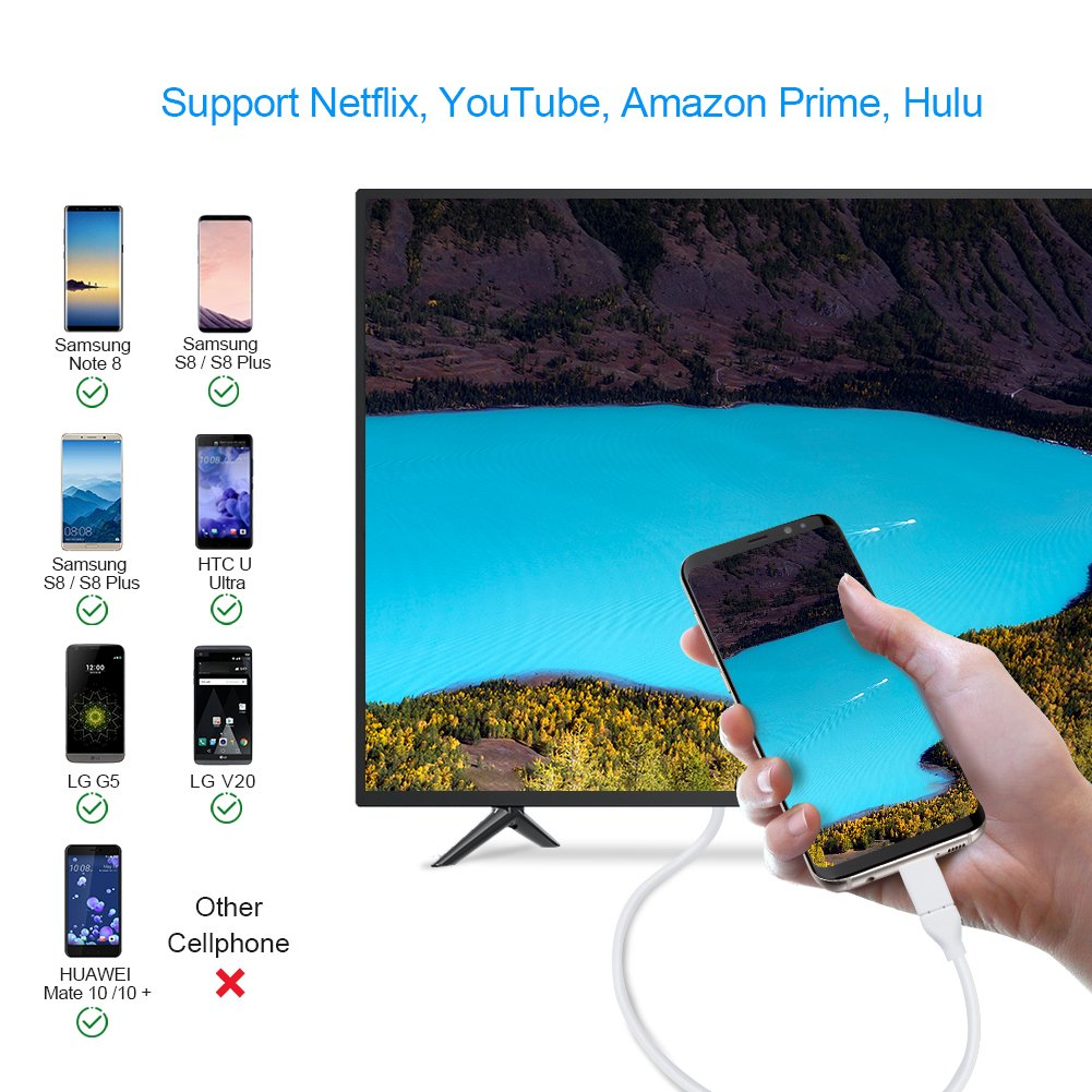 to HDMI Cable Compatible MacBook Pro 2018//2017,iPad Pro//MacBook Air 2018,Surface Book 2,Samsung S9//S8,Dell XPS 13,Black USB C to HDMI 4K @60Hz,6 FT CableCreation Type C Compatible Thunderbolt 3