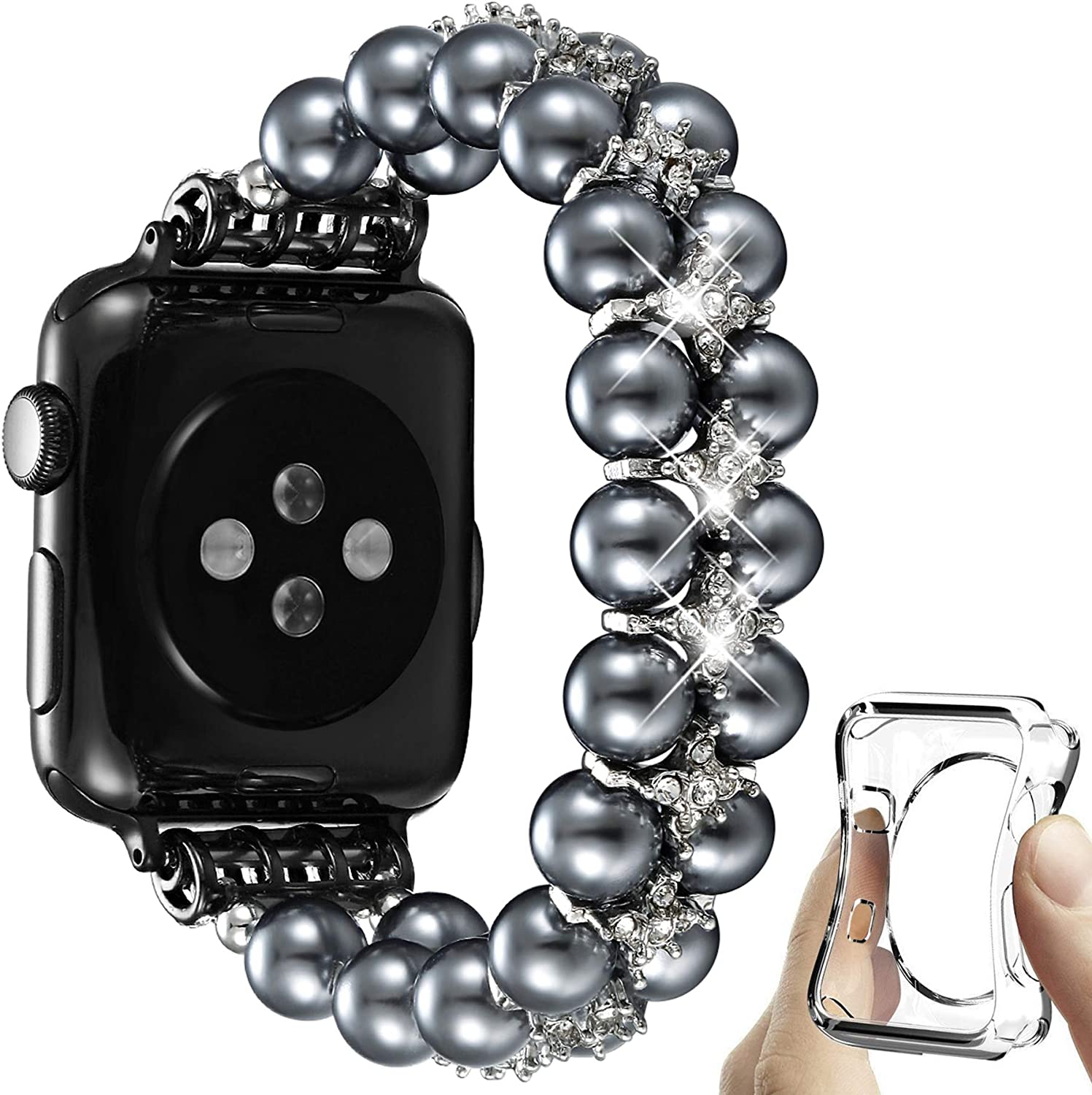 fastgo Compatible with Pearl Apple Watch Band 38mm 40mm Series 6/5/4/3/2/1, Women Girls Stretchy Beaded Bracelet Dressy Handpicked Elastic Jewelry Fancy Wristband for Iwatch SE Ladies Gift 42mm 44mm