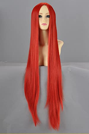 Larga peluca cosplay recta naranja tallada 100cm peluca roja ver peluca Tau Camino cosplay peluca