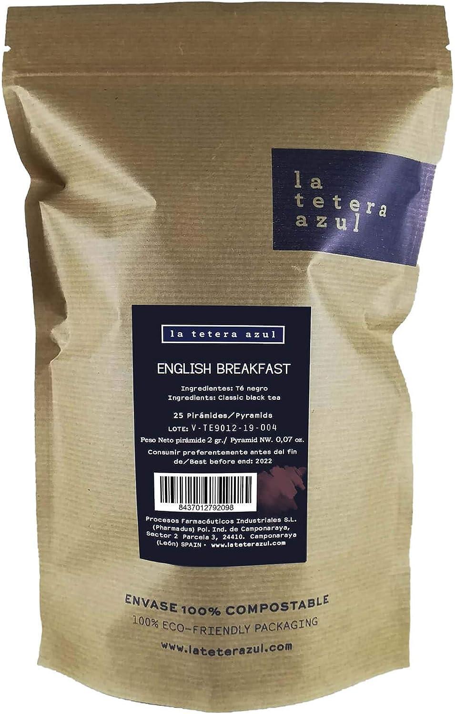LA TETERA AZUL Té Negro English Breakfast Premium. Infusión Estimulante. 25 Pirámides En Estuche Individual.: Amazon.es: Alimentación y bebidas