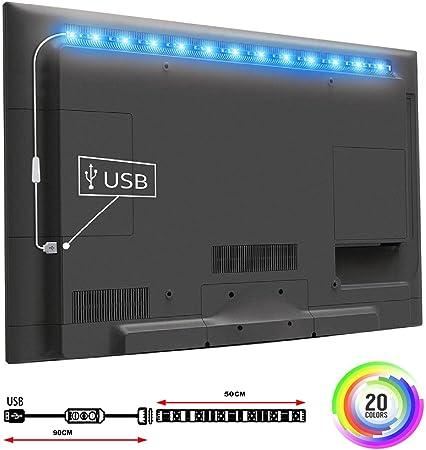 TOP-MAX televisor LED luces de tira 5050 RGB 50 cm decorativo que cambia de color luz de fondo TV USB TV PC iluminación de fondo salón dormitorio (1 * 50 cm): Amazon.es: Hogar