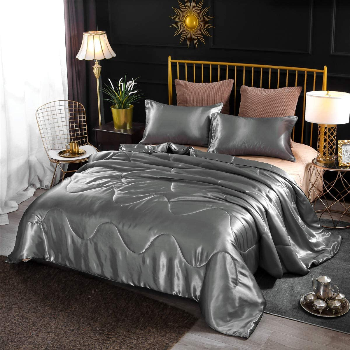NTBED Luxury Satin Comforter Sets Queen Gray Lightweight Soft Microfiber Bedding Sexy Silky Wave Quilted Blanket Sets with 2 Matching Pillowcases (Grey, Queen)