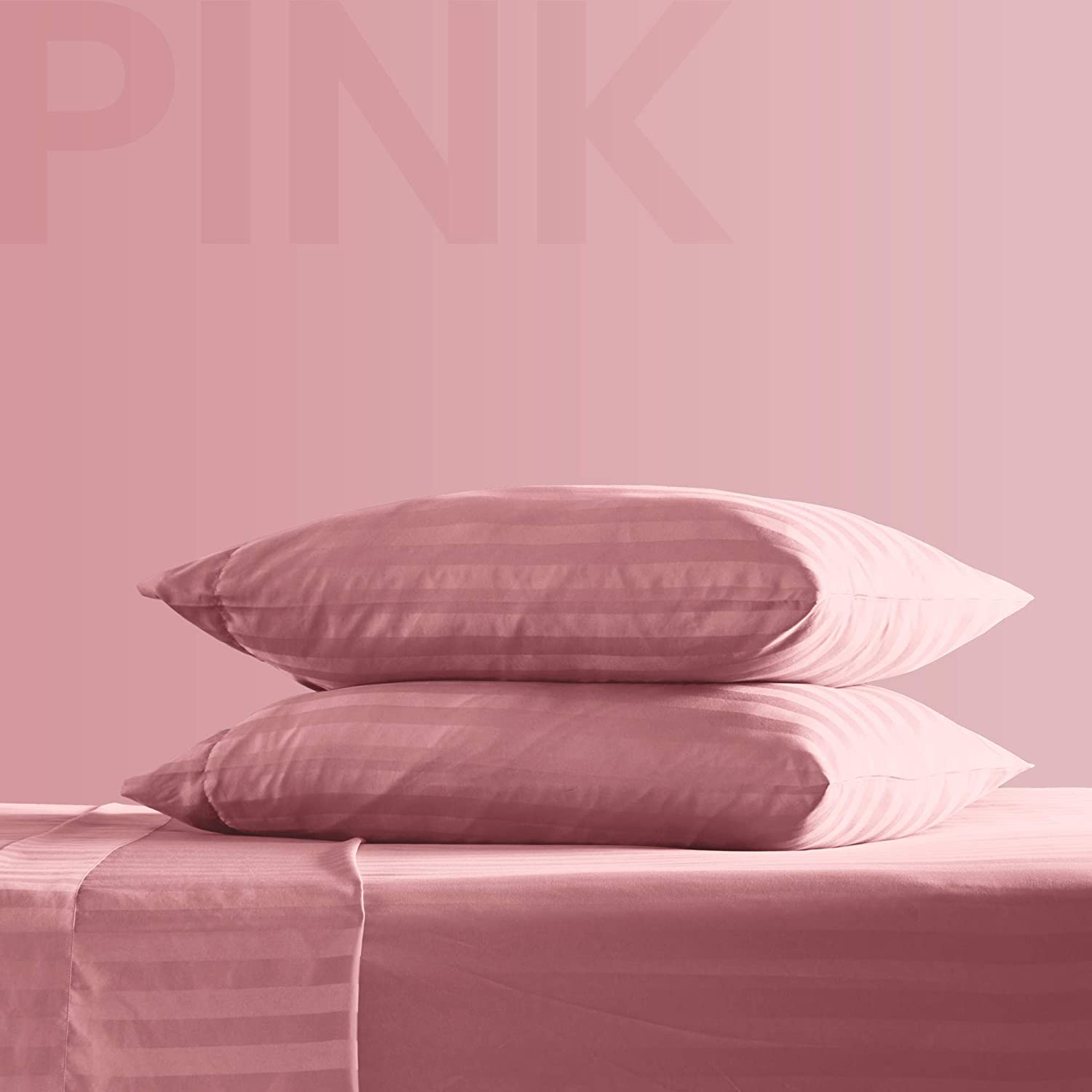 SLEEP ZONE Striped Bed Sheet Sets 120gsm Luxury Microfiber Temperature Regulation Sheets Soft Wrinkle Free Fade Resistant Easy Care (Pink, Queen)