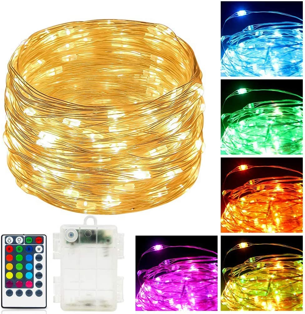 Fairy String Lights Remote Control RGBWW Colors 39 FT 120 Led Bulbs Battery Powered Seansonal Copper Wire Lamps Indoor/Outdoor Décor for Christmas Wedding New Year Bday Party (39FT Battery Powered)