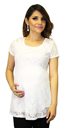 26f9db9f4877b White Lace Babyshower Maternity Blouse Short Sleeve at Amazon ...