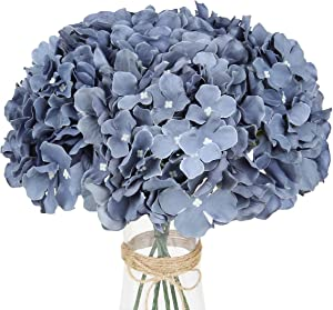 LuLuHouse Silk Hydrangea Heads with Stems Bulk Artificial Flower Heads DIY Wedding Centerpiece Home Party Baby Shower Decor (10, Dusty Blue)