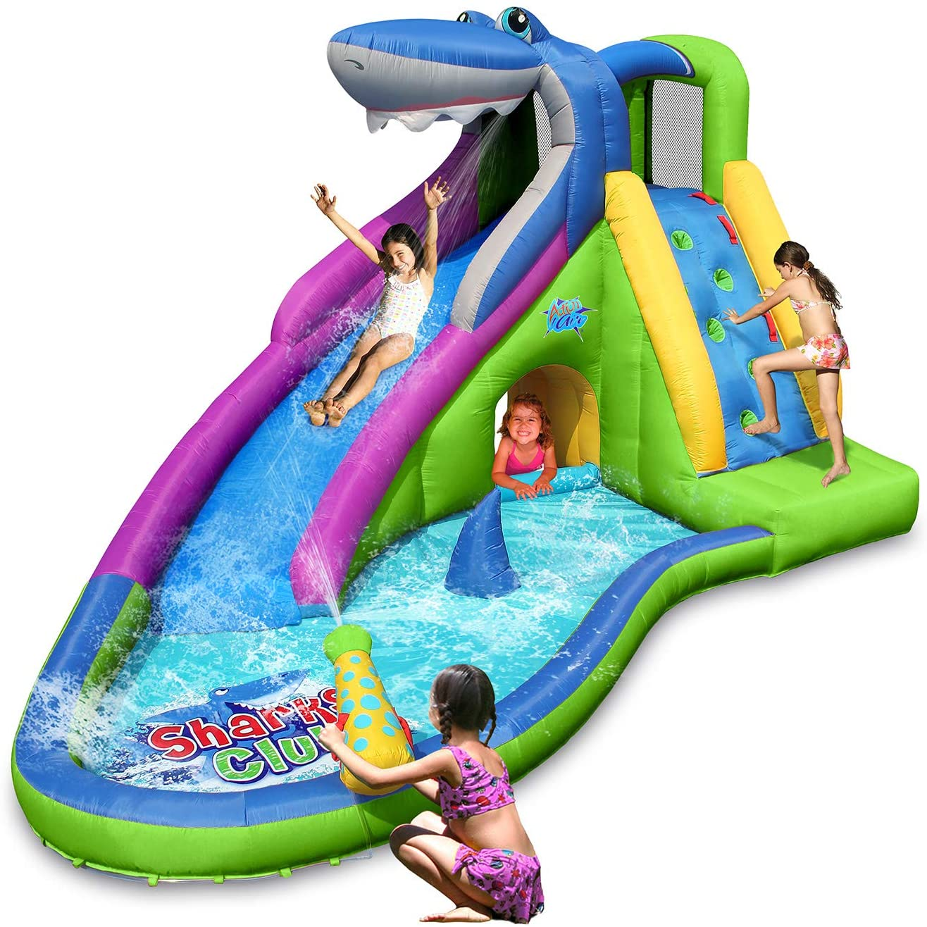 ACTION AIR Inflatable Waterslide, Shark Bounce House for Kids, Wet and Dry, 580W/0.8hp Air Blower Needed to Operate, Water Gun & Splash Pool (9417N-IP) Without Blower