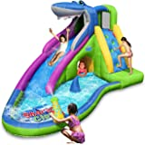 ACTION AIR Inflatable Waterslide, Shark Bounce House with Slide for Wet and Dry, Playground Sets for Backyards, Water…