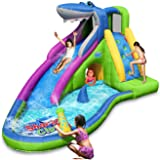 Action air Inflatable Waterslide, Shark Bounce House with Slide for Wet and Dry, Playground Sets for Backyards, Water Gun & S