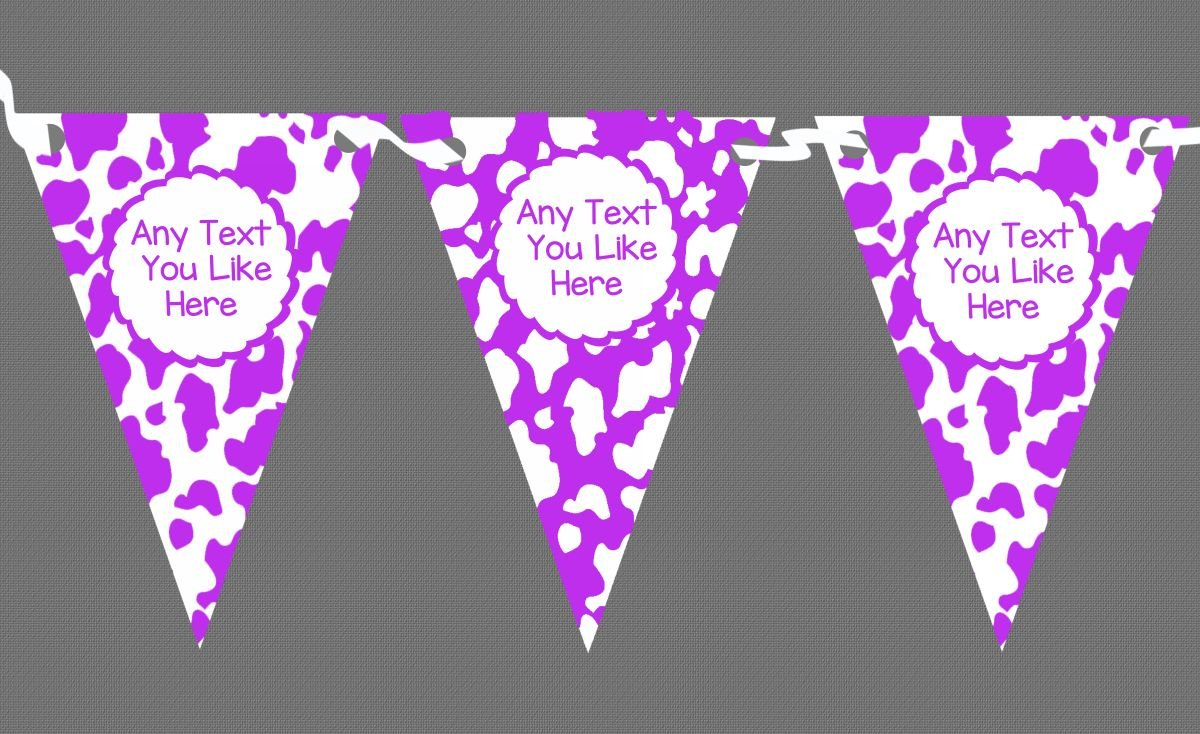 Cow Print Animal Happy Birthday Purple White Personalised Birthday Party Bunting