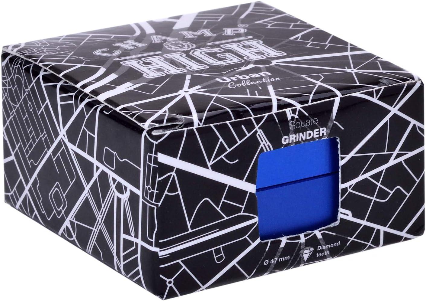 Bleu CHAMP HIGH Diam/ètre de 47 mm Moulin /à /épices Broyeur /à tabac /& Herbes aromatiques aluminium Grinder carr/é Design carr/é 2 Parties et Dents de Diamant