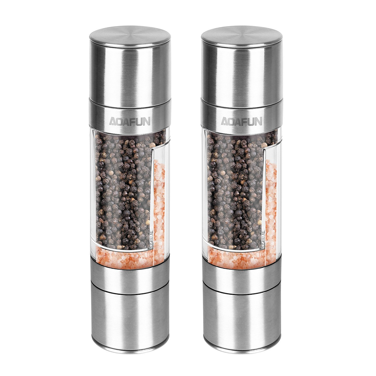 AOAFUN Premium Stainless Steel Salt and Pepper Grinder Set of 2 - Spice Grinder with Adjustable Coarseness, Ceramic Rotor, Tall Salt and Pepper Shaker, Brushed Stainless.