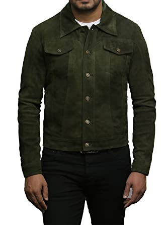 Brandslock Mens Genuine Leather Biker Jacket Goat Suede Shirt Style (X-Small, Green