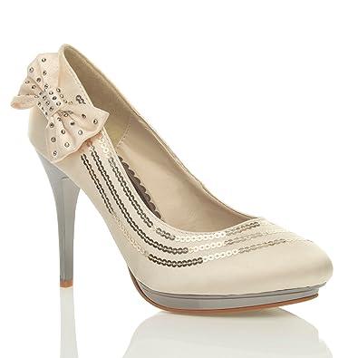 d937b21bb7b7 Ajvani Womens ladies wedding evening sandals platform metallic bridal high  heel prom court shoes pumps size  Amazon.co.uk  Shoes   Bags
