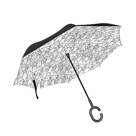 ALAZA doble capa puede gatos Doodle arte paraguas coches Reverse resistente al viento lluvia paraguas para