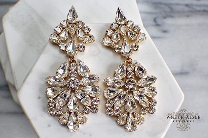 f3dd0623270e9 Amazon.com: Swarovski Crystal Bridal Chandelier Earrings Vintage ...