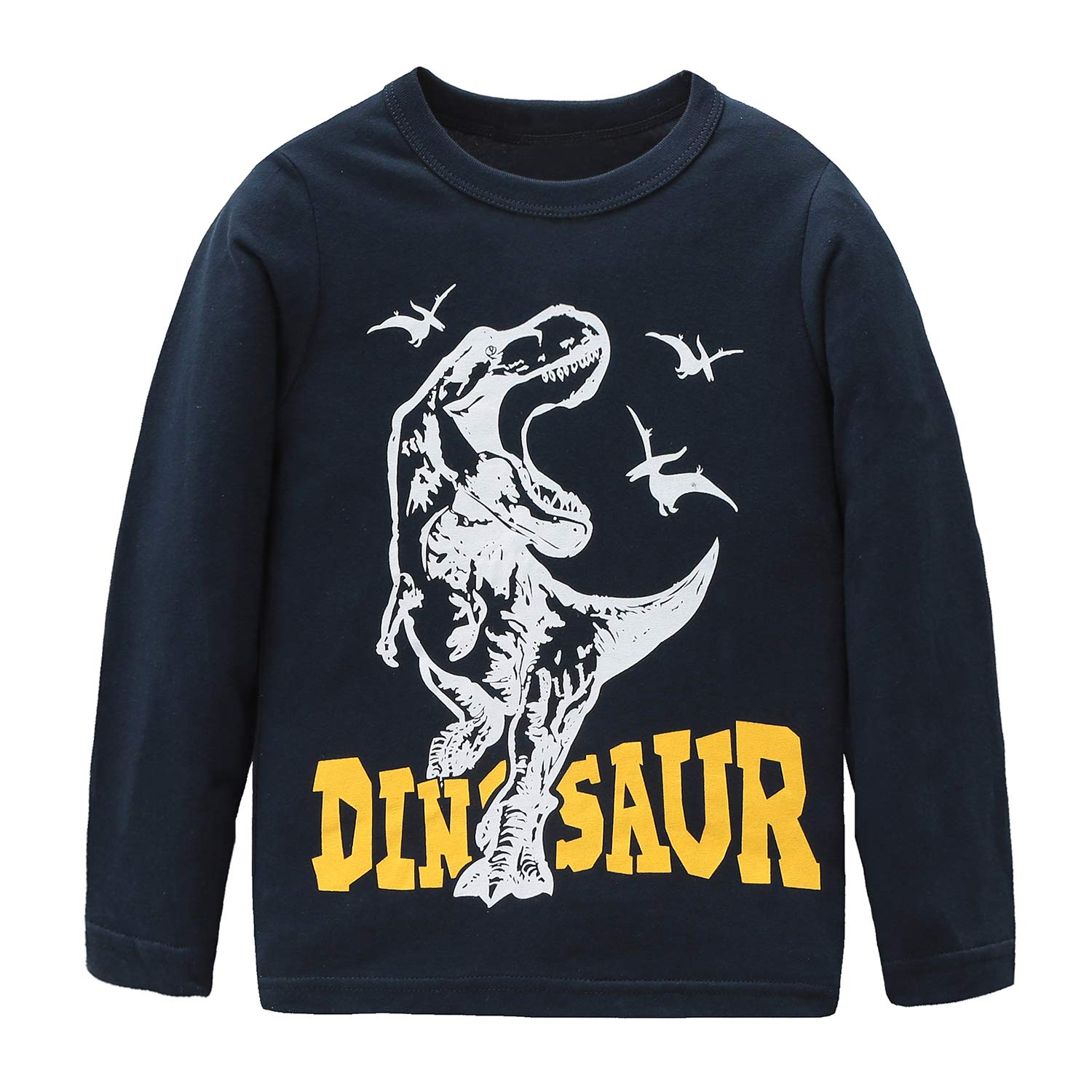 Boys Cotton Long Sleeve T-Shirts T Rex Dinosaur Shirt Graphic Tees Blue 7T