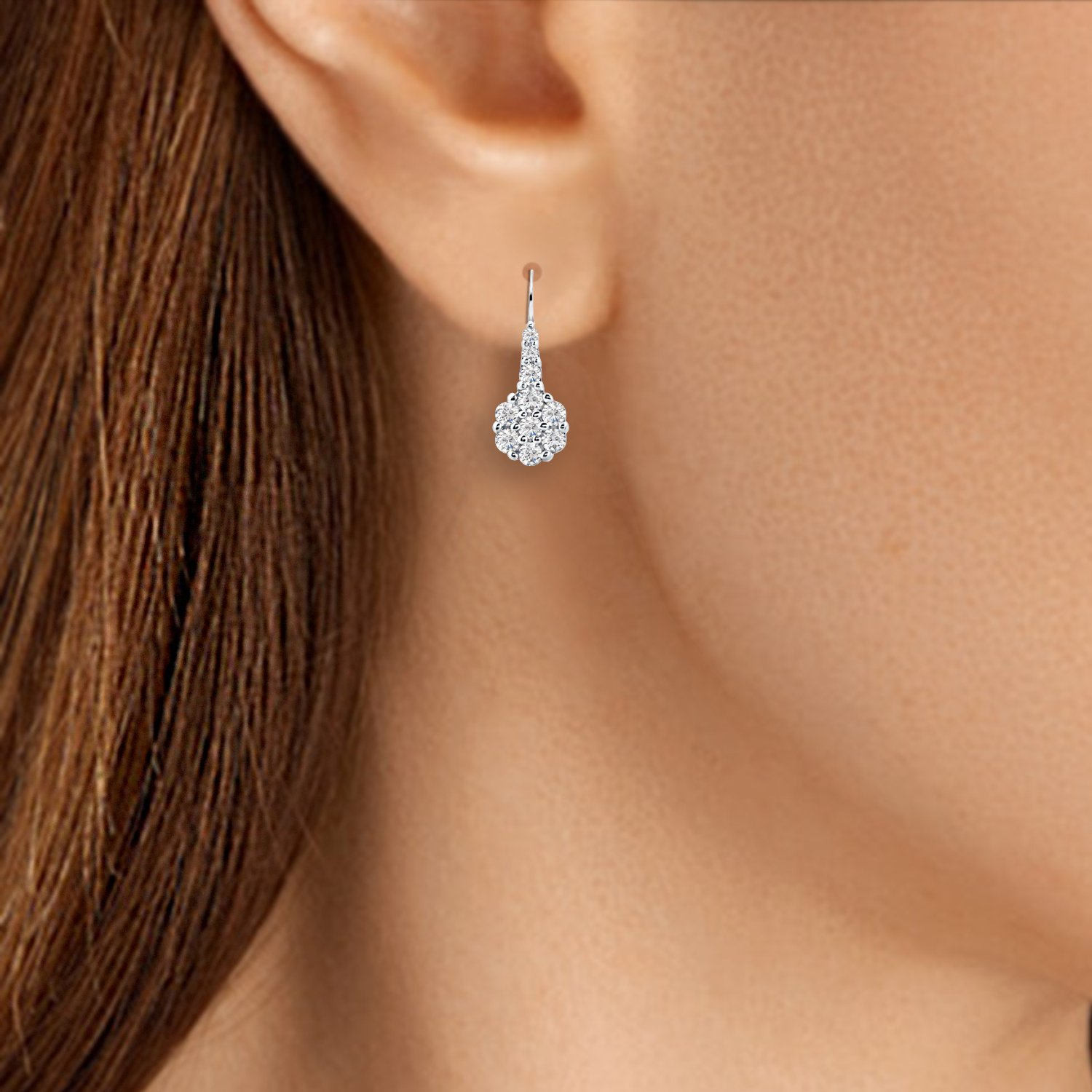 Diamond Scotch Jewelry 0.50 Ct Round Cubic Zirconia Cluster Flower Lever Back Dangle Earrings 14k White Gold Over