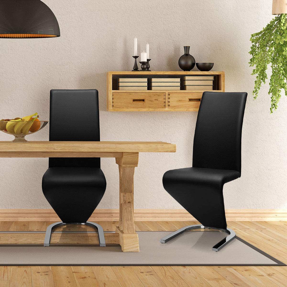 Giantex Set of 2 Modern Dining Chairs w/High Back, PU Leather Armless Chair for Home, Living Room, Bedroom, Leisure Chair w/U-Shaped Foot Padded Cushion, Black by Giantex