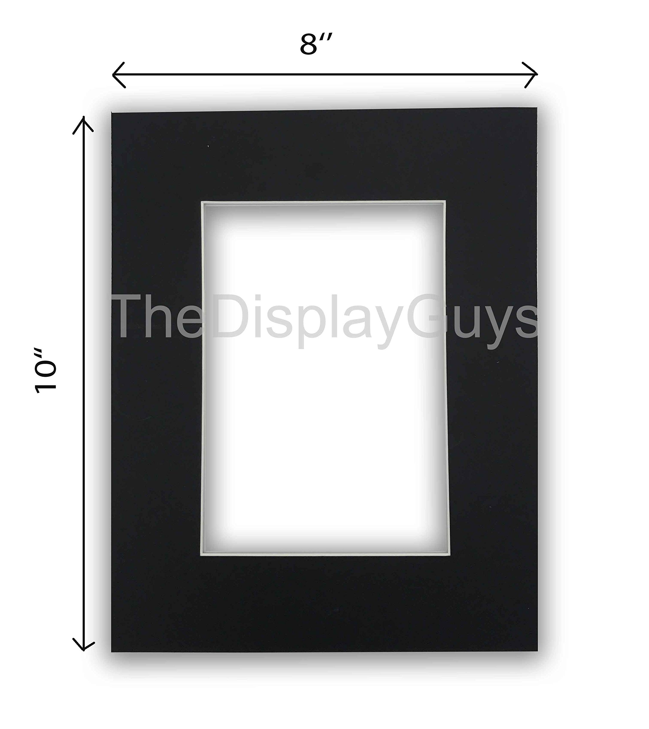 The Display Guys, Pack of 10pcs inch Acid-Free Black Pre-Cut Picture Mats White Core Bevel Cut Frame Mattes for Photo (8x10 Inch Black Mats) by The Display Guys
