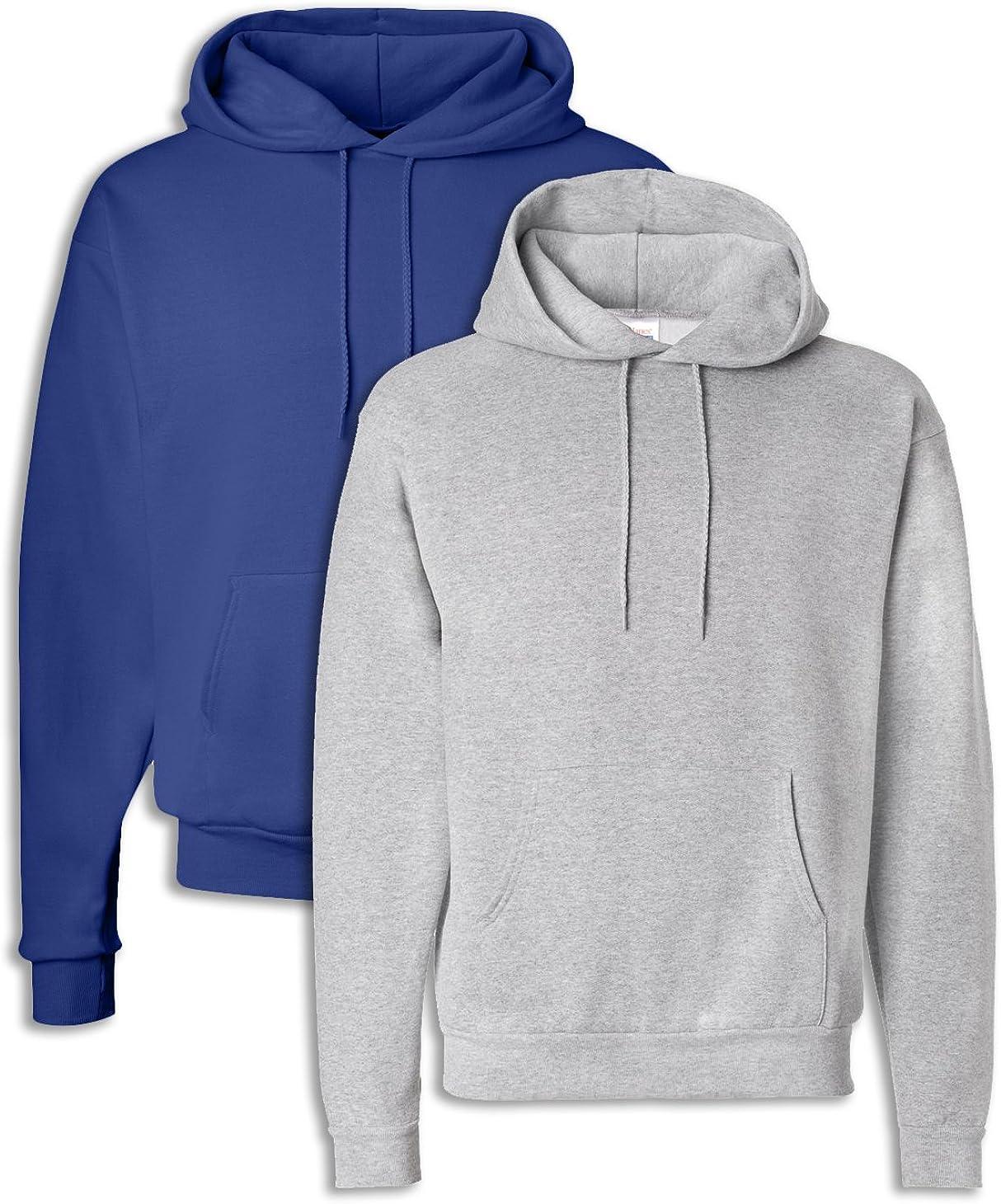 Hanes P170 Mens EcoSmart Hooded Sweatshirt Small 1 Deep Royal 1 Light Steel