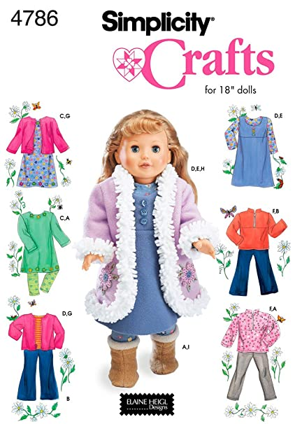Amazon.com: Simplicity Sewing Pattern 4786 Doll Clothes, One Size ...