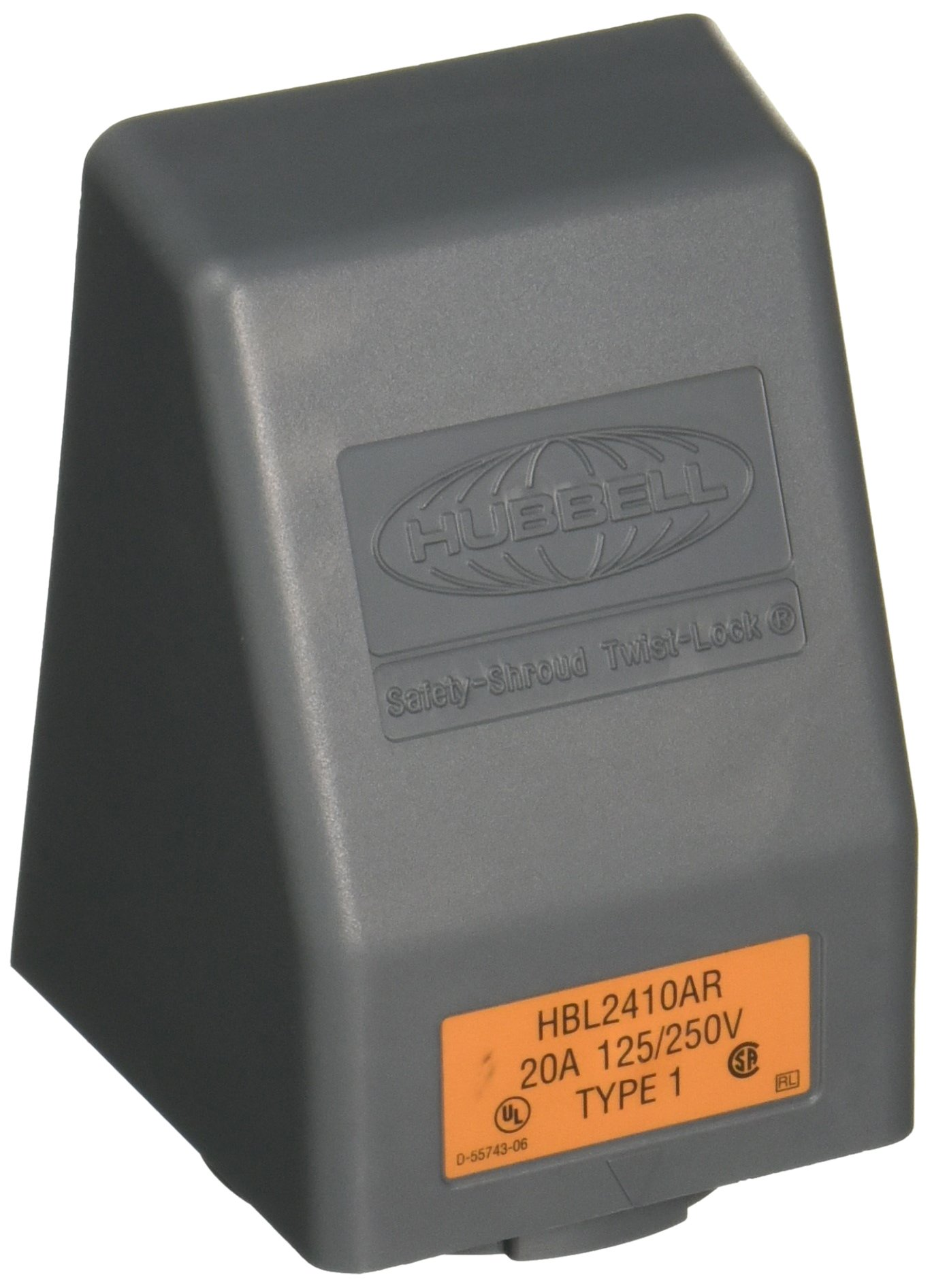 Hubbell HBL2410AR Locking Safety Shroud Receptacle, L14-20R, Angled Surface Mount