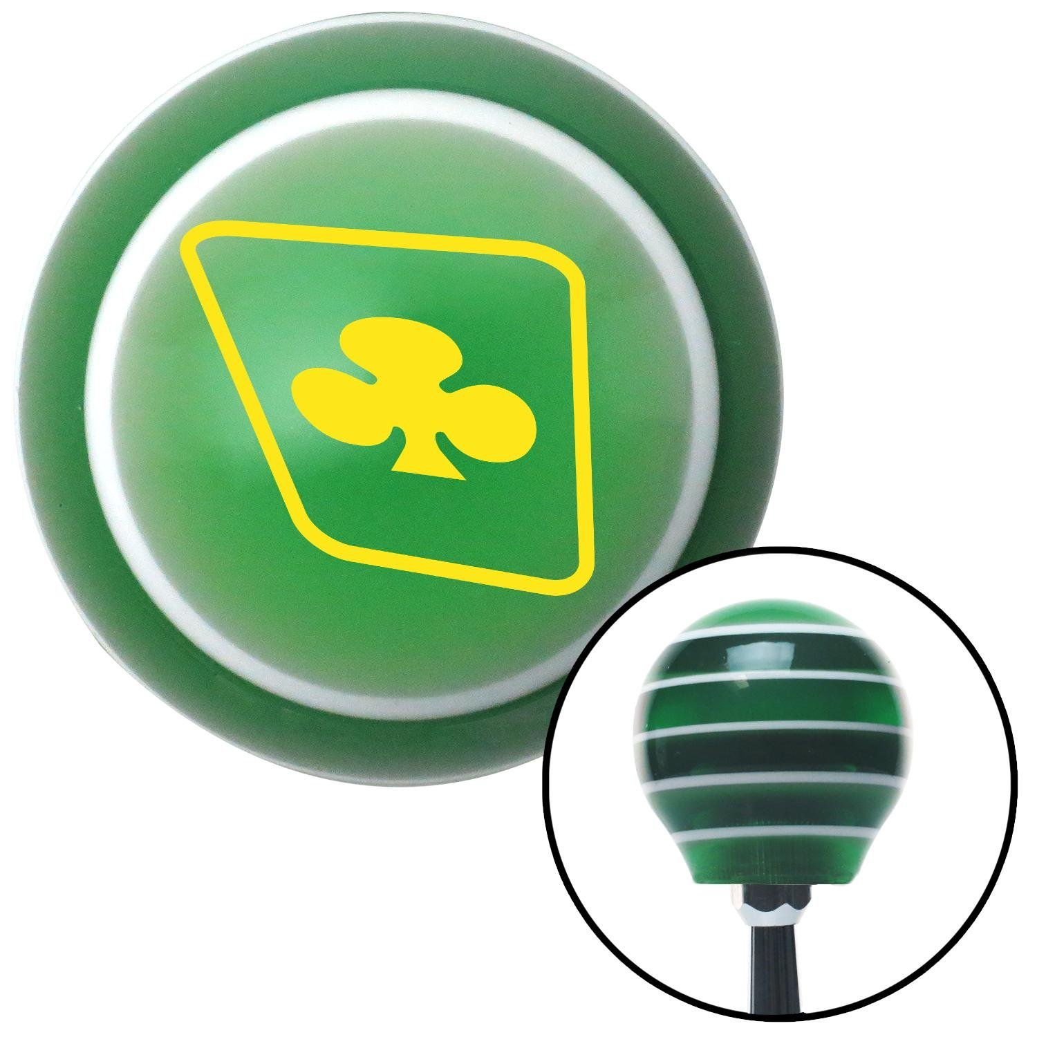 Yellow Clubs on a Card American Shifter 122026 Green Stripe Shift Knob with M16 x 1.5 Insert