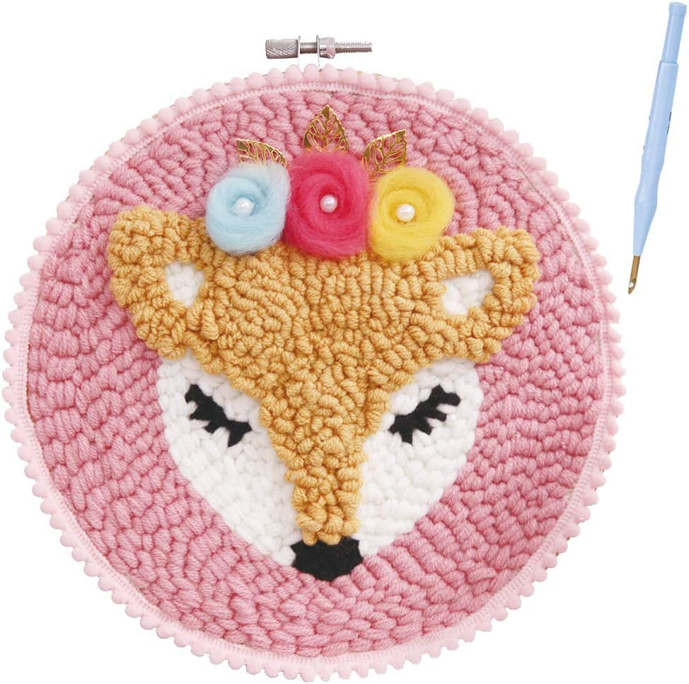 RuiyiF Hook Latch Rug Kits for Kids Beginner Preprinted DIY Rug Hooking Kit with Frame Craft Gifts for Girls Women Punch Needle Embroidery Starter Kits Colorful Yarn for Kids Adult