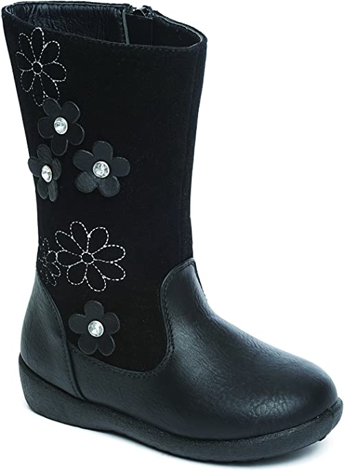 Infant Girls Boots Casual Black Zip Up